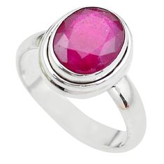 3.83cts NATURAL RED RUBY 925 STERLING SILVER SOLITAIRE RING SIZE 6.5 P21625