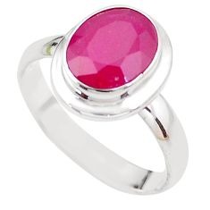 4.68cts NATURAL RED RUBY 925 STERLING SILVER SOLITAIRE RING SIZE 8 P21626