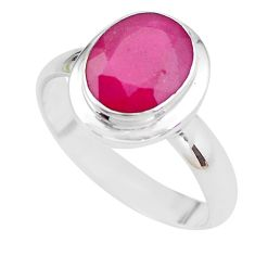 4.68cts NATURAL RED RUBY 925 STERLING SILVER SOLITAIRE RING SIZE 8 P21627