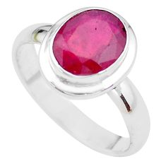 4.40cts NATURAL RED RUBY 925 STERLING SILVER SOLITAIRE RING SIZE 8.5 P21628