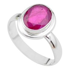 4.40cts NATURAL RED RUBY 925 STERLING SILVER SOLITAIRE RING SIZE 8.5 P21629
