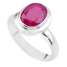 925 STERLING SILVER 4.16cts NATURAL RED RUBY OVAL SOLITAIRE RING SIZE 8.5 P21630