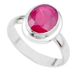 4.40cts NATURAL RED RUBY 925 STERLING SILVER SOLITAIRE RING SIZE 8 P21631