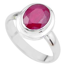 4.38cts NATURAL RED RUBY 925 STERLING SILVER SOLITAIRE RING SIZE 8 P21632
