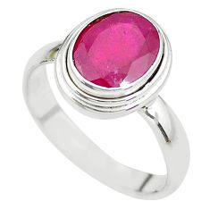 4.22cts NATURAL RED RUBY 925 STERLING SILVER SOLITAIRE RING SIZE 8 P21635