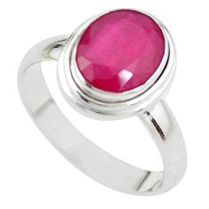 4.22cts NATURAL RED RUBY 925 STERLING SILVER SOLITAIRE RING SIZE 8 P21636