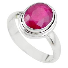 4.02cts NATURAL RED RUBY 925 STERLING SILVER SOLITAIRE RING SIZE 7.5 P21637