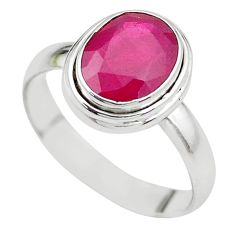 925 STERLING SILVER 4.52cts NATURAL RED RUBY SOLITAIRE RING SIZE 8.5 P21638
