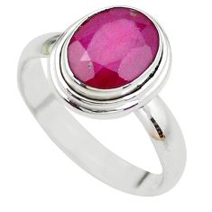 4.52cts NATURAL RED RUBY 925 STERLING SILVER SOLITAIRE RING SIZE 8 P21639