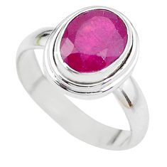 4.40cts NATURAL RED RUBY 925 STERLING SILVER SOLITAIRE RING SIZE 7 P21640
