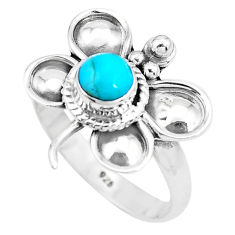 Blue arizona mohave turquoise 925 silver dragonfly solitaire ring size 8 p22022