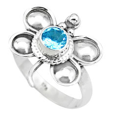 Natural blue topaz 925 sterling silver dragonfly solitaire ring size 9 p22023