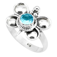 Natural blue topaz 925 sterling silver dragonfly solitaire ring size 7.5 p22024