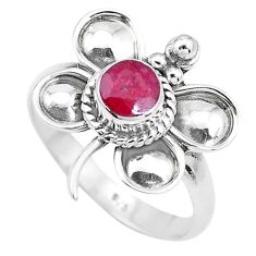 1.11cts natural red ruby 925 silver dragonfly solitaire ring size 8 p22028