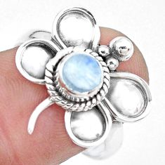 925 silver natural rainbow moonstone dragonfly solitaire ring size 8 p22040