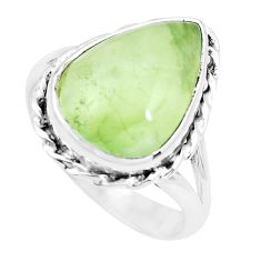 11.19cts natural green prehnite 925 silver solitaire ring jewelry size 9 p22258