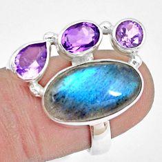 11.27cts natural blue labradorite amethyst 925 silver ring size 7 p22261