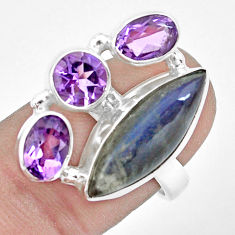 12.04cts natural blue labradorite purple amethyst 925 silver ring size 8 p22262