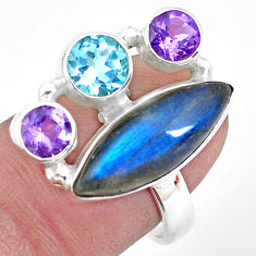 925 silver 11.27cts natural blue labradorite amethyst topaz ring size 8 p22264