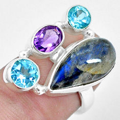 12.40cts natural blue labradorite amethyst topaz 925 silver ring size 6.5 p22265