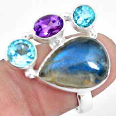 15.31cts natural blue labradorite amethyst topaz 925 silver ring size 7 p22267