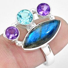 11.89cts natural blue labradorite amethyst topaz 925 silver ring size 7.5 p22268