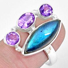 11.97cts natural blue labradorite amethyst 925 silver ring size 8.5 p22269