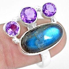 11.66cts natural blue labradorite amethyst 925 silver ring size 8.5 p22272