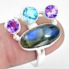 10.64cts natural blue labradorite amethyst topaz 925 silver ring size 8.5 p22276
