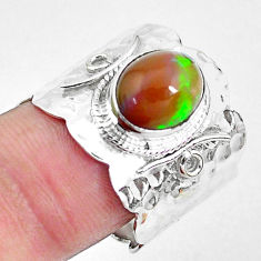 4.91cts natural ethiopian opal 925 silver solitaire ring size 8.5 p22478