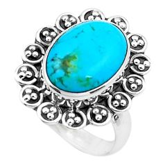 6.10cts green arizona mohave turquoise 925 silver solitaire ring size 7.5 p22572