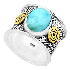4.91cts natural blue larimar 925 silver two tone solitaire ring size 7.5 p22603