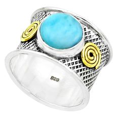 4.91cts natural blue larimar 925 silver two tone solitaire ring size 8.5 p22605