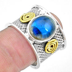 Natural blue labradorite 925 silver two tone solitaire ring size 7.5 p22620