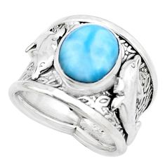 5.30cts natural blue larimar 925 silver dolphin solitaire ring size 7 p22627