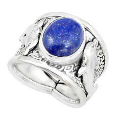 Natural blue lapis lazuli 925 silver dolphin solitaire ring size 7 p22629