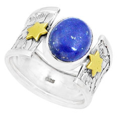 Natural blue lapis lazuli 925 silver two tone solitaire ring size 7.5 p22643
