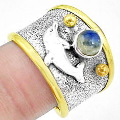 Natural blue labradorite silver two tone dolphin solitaire ring size 8 p22676