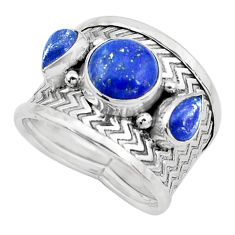 5.18cts natural blue lapis lazuli 925 sterling silver ring size 7.5 p22684