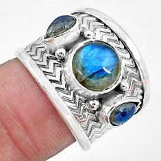 5.01cts natural blue labradorite 925 sterling silver ring size 6.5 p22699