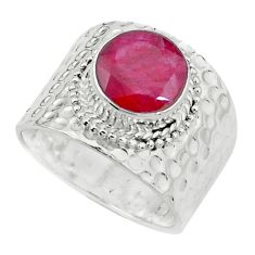 5.08cts natural red ruby 925 sterling silver solitaire ring size 8 p22707