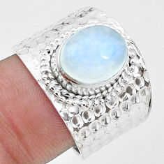 925 silver 4.24cts natural rainbow moonstone solitaire ring size 8 p22715