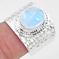 Natural rainbow moonstone 925 silver solitaire ring jewelry size 7 p22717