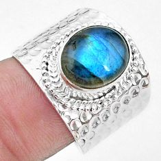 925 silver 5.08cts natural rainbow moonstone solitaire ring size 7 p22720