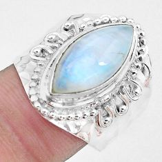 7.61cts natural rainbow moonstone 925 silver solitaire ring size 7.5 p22799