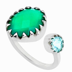 5.13cts natural green chalcedony 925 silver adjustable ring size 5.5 p23712