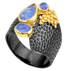 925 silver 4.40cts natural blue tanzanite rhodium two tone ring size 7.5 p23753