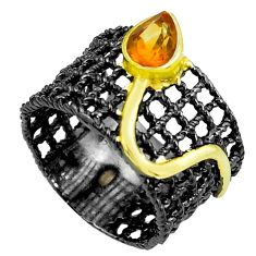 Natural yellow citrine rhodium 925 silver two tone solitaire ring size 8 p23781