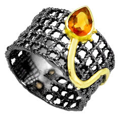 Natural yellow citrine rhodium 925 silver two tone solitaire ring size 9 p23784