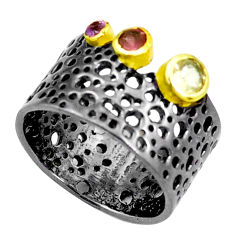 Natural yellow citrine amethyst rhodium 925 silver two tone ring size 6.5 p23807
